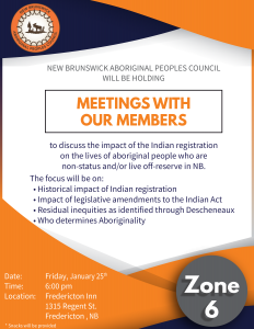 Zone 6 members consultation meeting - Indian Registration @ Fredericton Inn
