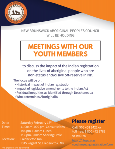 NBAPC youth members consultation meeting – Indian Registration @ Fredericton Inn